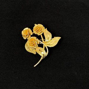 Coro Vintage Brooch Gold Tone Textured Metal Roses